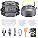 G4Free 19PCS Camping Cookware Mess Kit, Lightweight Pot Pan Kettle Fork Knife Spoon Kit for Backpacking, Outdoor Camping Hiking and Picnic