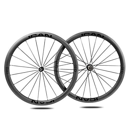 Alpha 40 Ruedas de ICAN Carbono Remachador Tubeless Listo Bici Carretera Ruedas 20/24 Agujeros Shimano 10/11 V