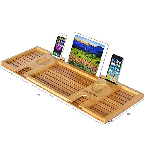 Support de Baignoire Étagère de Baignoire Étagère de Salle de Bain multifonctionnelle en Bambou Support de Tablette pour téléphone Portable Support de Baignoire
