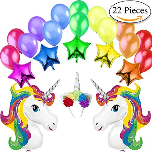 Decoracion Unicornio Cumpleaños 2 Unicornios Gigantes Arcoíris, 5 Estrellas Globos de Aluminio, 1 Diadema de Unicornio, 14 Globos Grandes Perlados