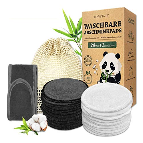 24 Stück Abschminkpads Waschbar, Wiederverwendbare Wattepads aus Bambus und Baumwolle mit Haarband + Wäschesack, Cotton Pads in 2 Farben Perfekt für Gesichtsreinigung, Umweltfreundliche Produkte