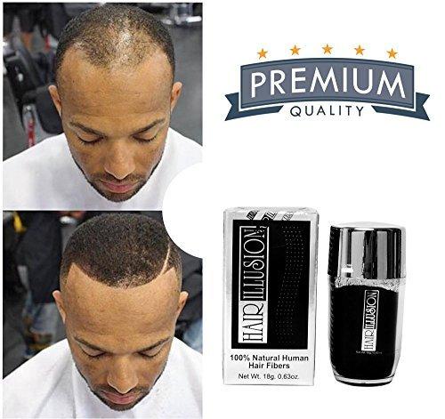 HAIR ILLUSION – 100% Natural Human Hair FibersNot Synthetic For Men & Women, Premium Hair Building Formulation, Black 18g