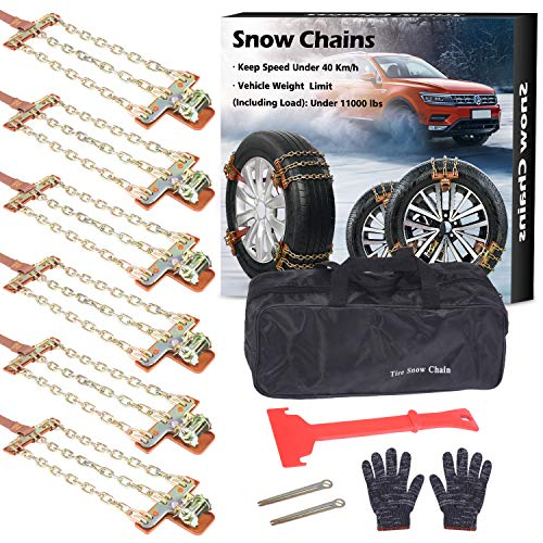 BESTWELL4U Tire Chains,Snow Chains for Car,Truck,SUV of Tire Width 215-285 mm (8.5-11 inch),Upgraded,Thickend,Adjustable (6 Pack)