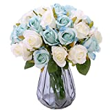 NYRZT Artificial Flowers, 2 Pack Silk Roses 12 Heads Bridal Wedding Bouquet Decoration Table Centerpieces Home Garden Party Decor (Light Blue and White)
