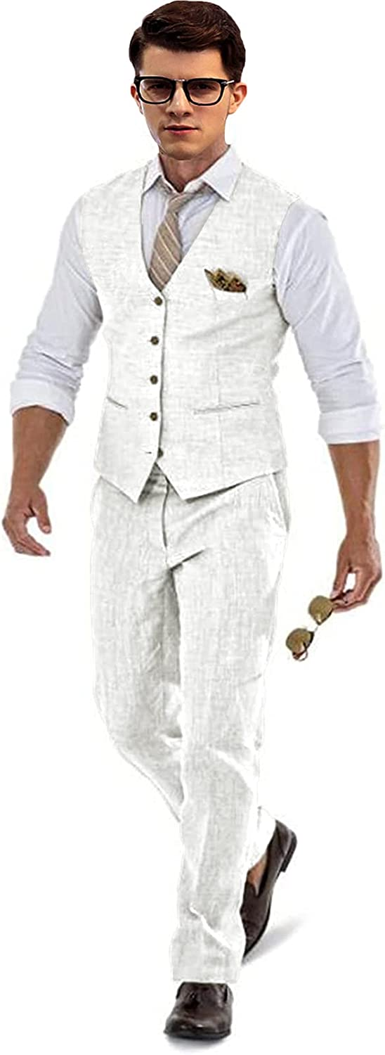 Casual Linen Limited Special Price Ivory Men's 2 Piece Fit Slim Wedding Gr New color Suits