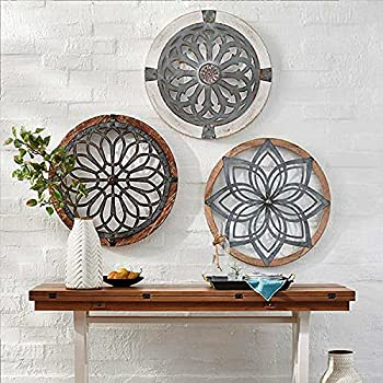 Heritage Round Wall Art-Metal Decorative Wall Medallions-Wooden Hanging Ornament Home Restaurant Decoration Lightweight  A Whole Set