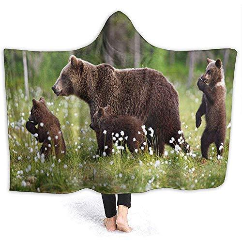 Simone-Shop Baby Animal Bear Cub deken met capuchon Cozy Throw Wrap mantel met capuchon, dik, draagbaar, omkeerbaar