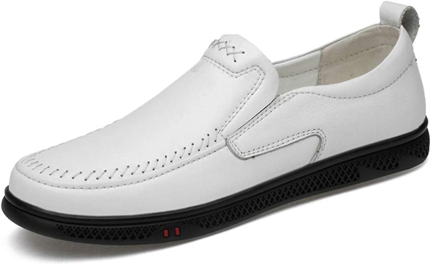 MUMUWU Men's Classic Oxford shoes Casual Loafer Comfortable Perforated Flat Leather Upper Round Toe (color   White, Size   9.5 D(M) US)