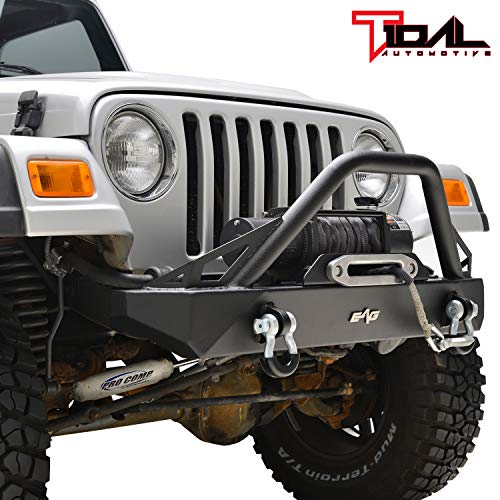 Tidal Front Bumper with Winch Plate and D-Ring Fit for 87-06 Wrangler TJ YJ