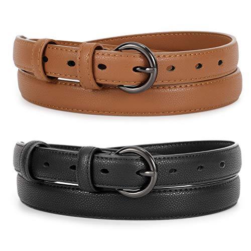 WERFORU 2 Stück Damen Skinny Ledergürtel für Jeans Hosen Kleid Damen Einfache Taille Gürtel