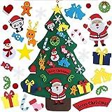 Árbol de Navidad de Fieltro, YHLZGOOD Árbol Navidad DIY Fieltro Pared Feliz Navidad Ornamentos Desmontables para Regalos navideños Decoración Paredes y Puertas del hogar (25 Piezas)