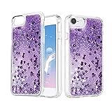 Carcasa para iPhone 7 iPhone 8, iPhone SE 2020 de silicona TPU, chicas y mujeres con purpurina, líquido suave, brillante y brillante para iPhone 6/6S/7/8/SE 2020 (4,7 pulgadas), color morado