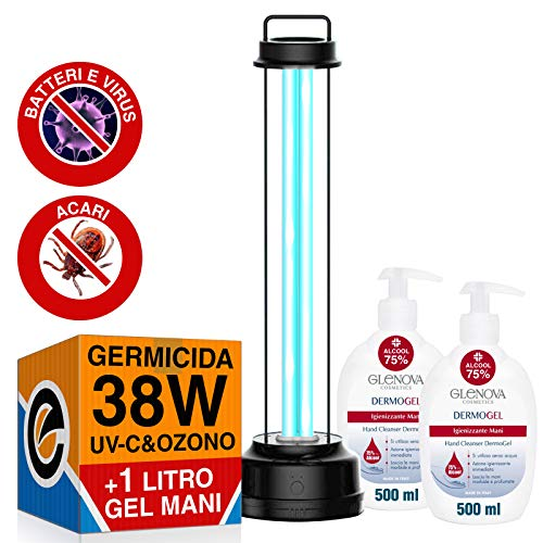 2x Dispenser Gel per le Mani GLENOVA 500ml Alcool 75% Igienizzante Antibatterico + 1 Lampada GERMICIDA Doppia Tecnologia Raggi UV-C Ozono 38W Sanificazione Ambienti da Batteri Acari Virus
