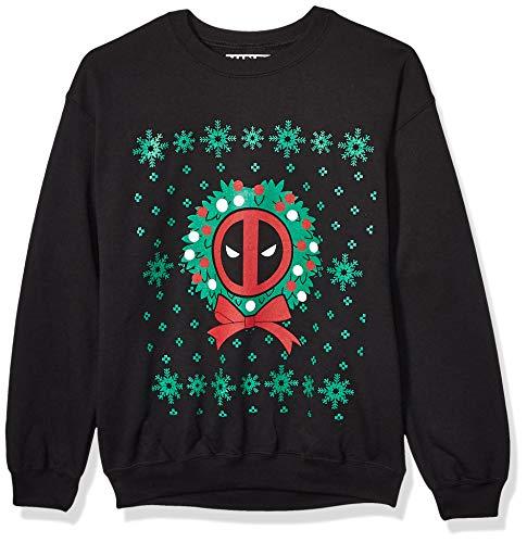 Dead Pool Unisex-Adult's Deadpool Christmas Fleece, black, X-Large