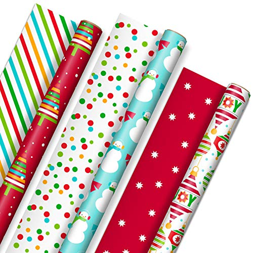 Hallmark Reversible Christmas Wrapping Paper for Kids (3 Rolls: 120 sq. ft. ttl) Vibrant Brights, Stripes, Trees, Ornaments, Polka Dots