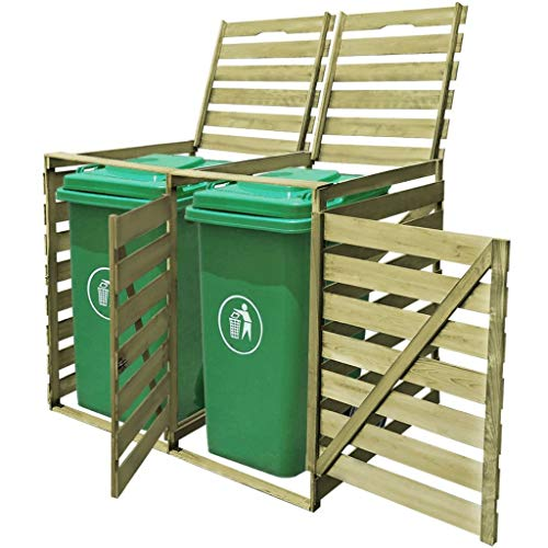 mewmewcat Double Wheelie Bin Shed with Lifting Lids Opening Doors Front Locks 240 L FSC Impregnated Wood