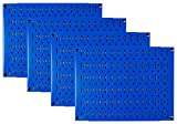 Pegboard Wall Organizer Tiles - Wall Control Modular Blue Metal Pegboard Tiling Set - Four 12-Inch Tall x 16-Inch Wide Peg Board Panel Wall Storage Tiles - Easy to Install (Blue)