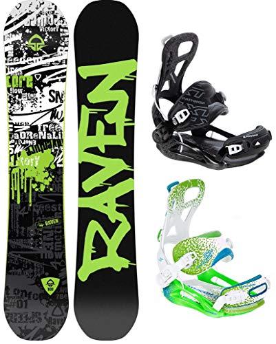 RAVEN Snowboard Core Limited 2019 + Bindung Pathron Team (166cm Wide + Team ST White/Green/Blue XL)