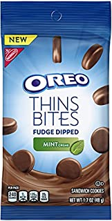 Oreo Thins Bites Fudge Dipped Chocolate Sandwich Cookies, Mint Creme, 8 Count Tray, 13.6 Ounce