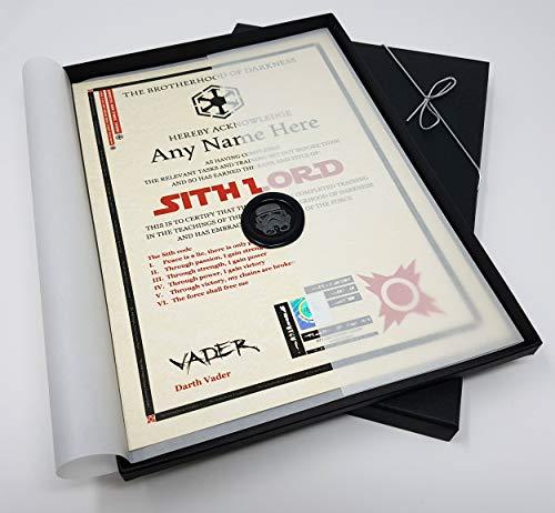 Deluxe – Sith Lord Certificado en una caja de regalo de lujo – personalizado con el nombre de su elección: Amazon.es: Oficina y papelería