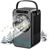 Nuaer Portable Air Conditioner, Air Cooler with 600ML Water Tank, Desktop Air Conditioning Fan with 7 Colors Lights & LED Display, 2/4Timer, 3 Speeds, Suitable for Bedroom, Office and Home