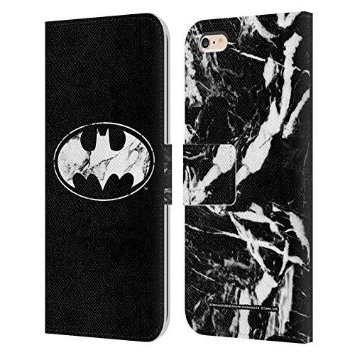 Head Case Designs Oficial Batman DC Comics Mármol Logotipos Carcasa de Cuero Tipo Libro Compatible con Apple iPhone 6 Plus/iPhone 6s Plus