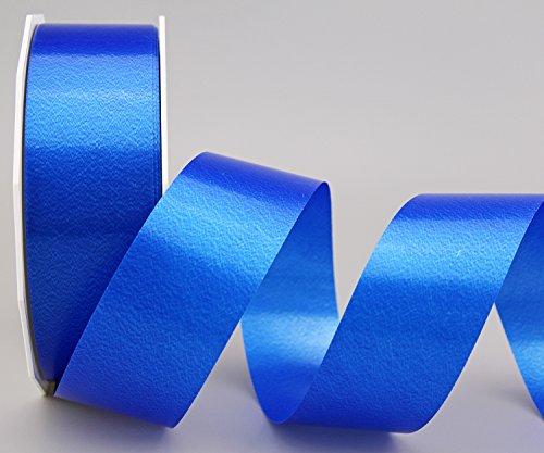 Polyband BLAU 90 m x 4 cm (Rolle) (0,13€/m) Geschenkband Dekoband 40 mm Glanzband WETTERFEST Schleifenband Kartengestaltung Basteln Ringelband
