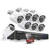 SANNCE 5MP système de sécurité 8CH PoE NVR H.265 avec 3TB,8 IP caméra de vidéosurveillance...