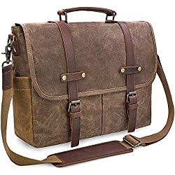 cheap Men's Shoulder Bag 15.6 inch Waterproof Vintage Satchel Wax Real Leather, Large …