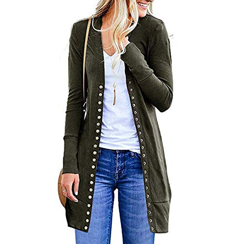 Women's Long Cardigan, Wugeshangmao Ladies Solid Long Button Down Coat Jacket Female Open Front Cardigan