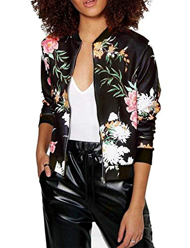 Women's Lightweight Floral Bomber Jacket with Pockets S