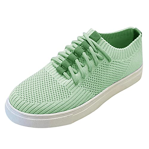 Zapatillas de Lona para Mujer con Espalda Abierta, Ligeras, Transpirables, Bajas, sin Espalda, para Exteriores, sin Espalda, Zapatillas de Deporte (G32_Green,38)