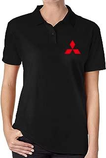 FengZe Mitsubishi Car Logo Funny Polo Short Sleeve for Women Black