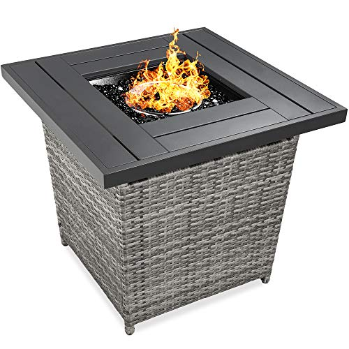 Best Choice Products 28in Fire Pit Table 50,000 BTU Outdoor Wicker Patio Propane Gas w/Faux Wood Tabletop, Glass Beads, Cover, Hideaway Tank Holder, Lid – Ash Gray