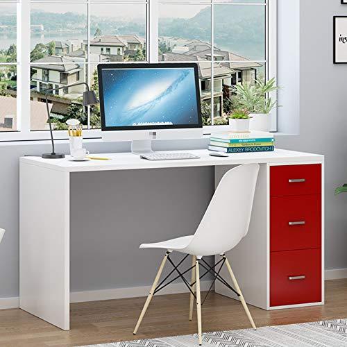 XIALIUXIA Mesa De Escritorio Moderno, Mesa De Ordenador con 3 Cajones, Múltiples Fines Escritorio para Estudio Oficina,D,100CM