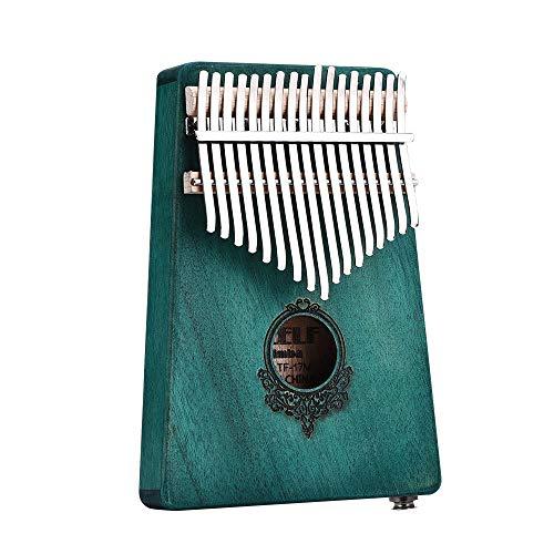 Geschenk für Kinder Erwachsene Anfänger Beruf 17 Mbira Keys Mahagoniholz Afrikanischen Daumenklavier Mini Keyboard Schlaginstrument (Color : Green, Size : with Pickup)