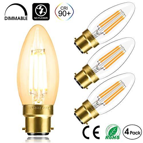 LEDORA LED B22 Bajonettsockel Glühfaden Kerzenlampe dimmbar LED Antik-Kerzenlampe Warmweiß 2700 K Ra90 + 4 W 400 LM 40 W Glühlampen entspricht 4 Packungen