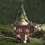 Gartendeko Figuren,Garten Gnome Statue Solar Leuchte,Gartenzwerg-Statue Dwarf Statue-Resin Ornament mit Solar LED Beleuchtung,Harz Gnom Figur Tragen Magie Kugel Gartenzwerge für Balkon,Garten (B)