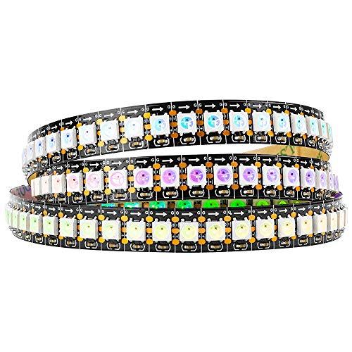 BTF-LIGHTING 1M 144 LEDs/Pixels/m WS2812B Schwarz PCB RGB adressierbare Strip Streifen mit 5050 SMD LEDs NichtWasserdicht IP30