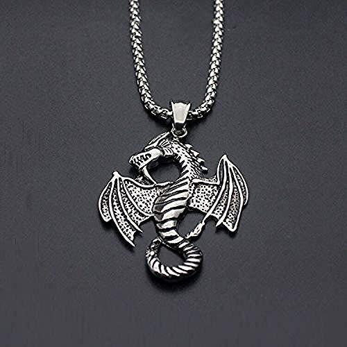 DUEJJH Co.,ltd Collar Acero de Titanio Colgante de dragón del zodíaco Collar de Acero de Titanio Collar con Colgante de Grifo