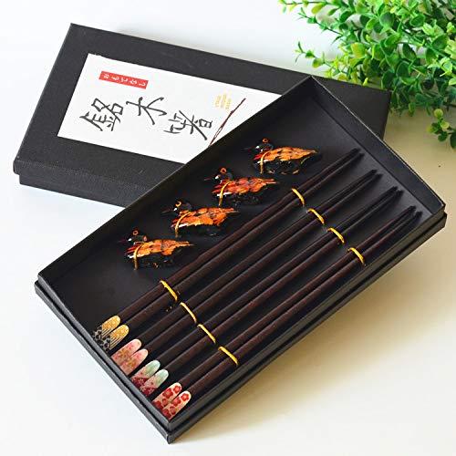 Queta Essstäbchen 4 Paar Hochwertige Japanische Holzstäbchen für Asiatische Geschirr oder Geschenk mit 4 Paar Hochwertige Essstäbchenauflage aus Holz (Entenstil)