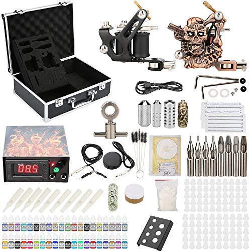 Chiitek Starter Beginner Complete Tattoo Kit with Carry Case 2 Machine Tattoo Gun 40 Color Immortal...