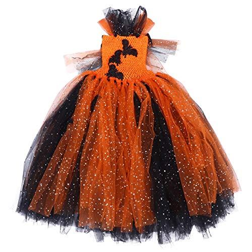 Material: de Halloween del tutú de tul vestido del palo del partido de lentejuelas de la falda del traje de falda larga Rendimiento del traje del vestido de hasta Accesorio (Apto for 6-7 años niña) LQ