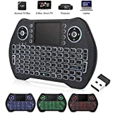 Handheld Mini Keyboard, Wireless Keyboard with Touchpad for Smart TV,Remote Control,Android TV Box,Laptop,PC,Xbox 360,PS3(RGB Backlit)
