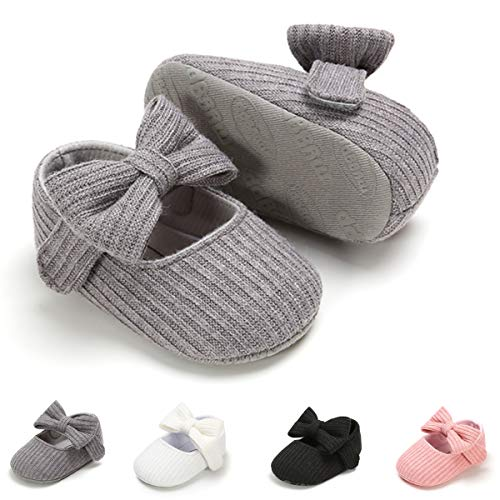 Ohwawadi Infant Baby Girl Shoes, Bowknot Baby Mary Jane Flats Princess Dress Shoes Soft Baby Crib Shoes (12-18 Months, 1933 Grey)