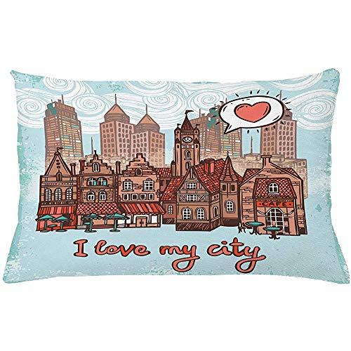 4 Pezzi 18X18 Pollici Fodera per Cuscino City Throw Pillow,I Love My City Hallmarks Watchtower Timber Houses Modern And Old,Decorazioni per La Casa Rettangolo Federa
