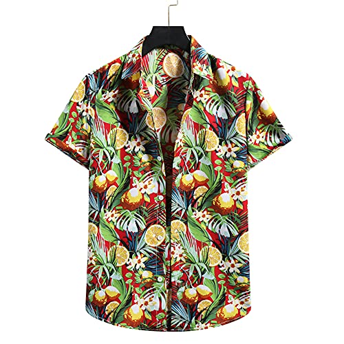 T-Shirt Uomo Estiva Moda Base Uomo Casual Camicie Unica Stampa Maniche Corte Sportiva Shirt Abbottonatura Spiaggia Shirt Casual Vacanza Surf Camicia E-03 M