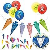 Oblique Unique® Schuleinführung Schulanfang Einschulung Deko Set für Jungs und Mädchen - Luftballons + Zuckertüte Einladungskarten / Girlande + Zuckertüte Konfetti Set