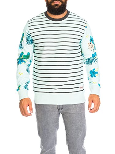 JACK & JONES Herren JORCEDRIC SWEAT CREW NECK Sweatshirt, Mehrfarbig (Surf Spray Fit:REG), Medium
