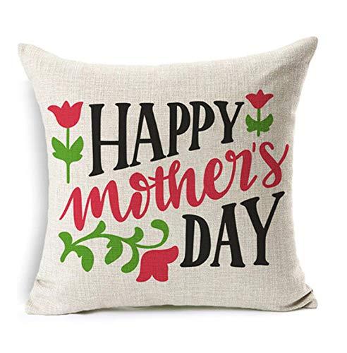 qhtqtt Funda De Cojín Feliz Día De La Madre Regalos Algodón Lino Carta De Amor Regalos Inicio Funda De Almohadas Decorativas para Sofá 45X45Cm A